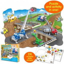 Learning Journey - Puzzle-doble con pegatinas construcción 50 piezas